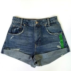Zara Hi-Rise Denim Shorts Blue 4